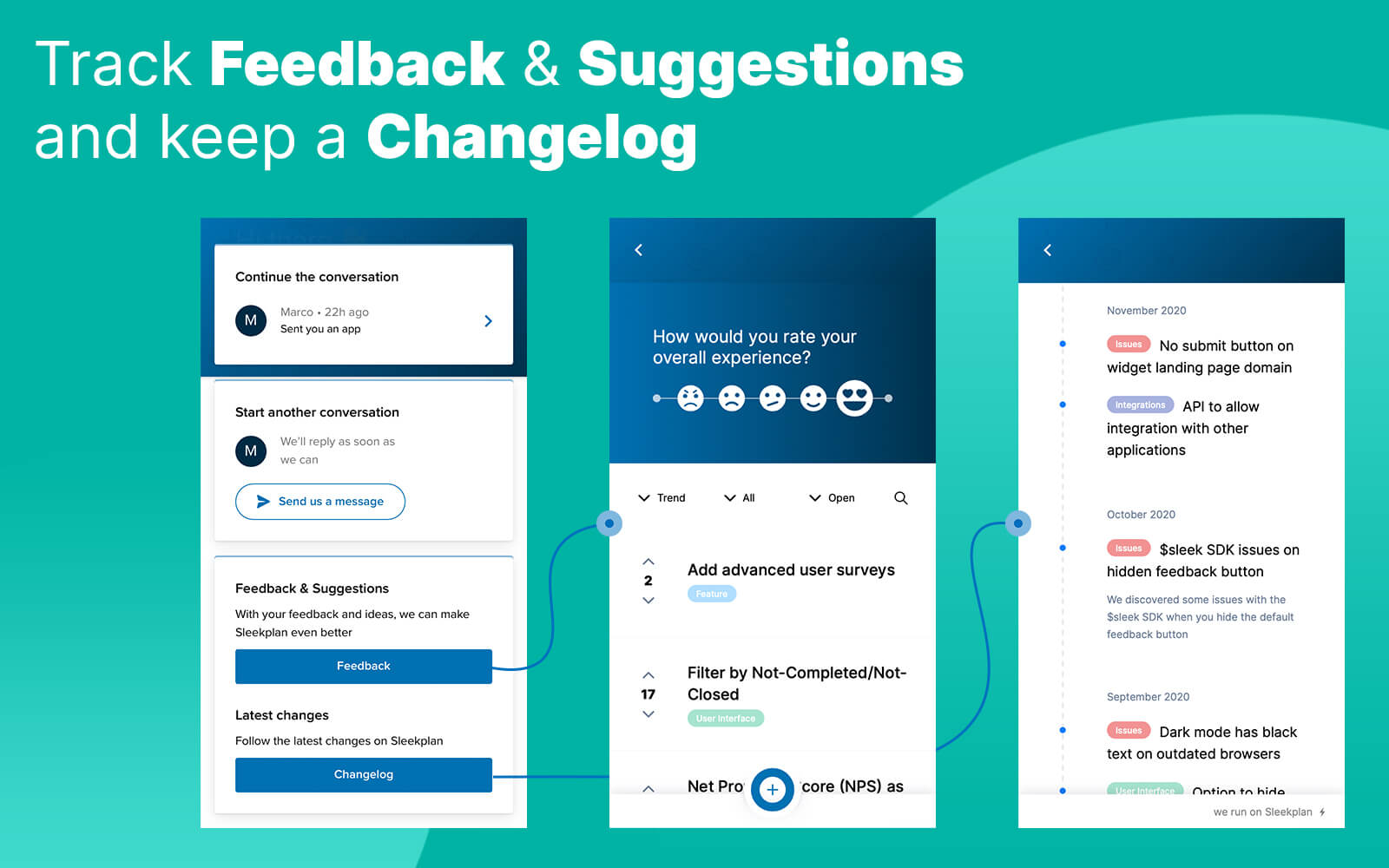 Add a feedback board & changelog to your messenger