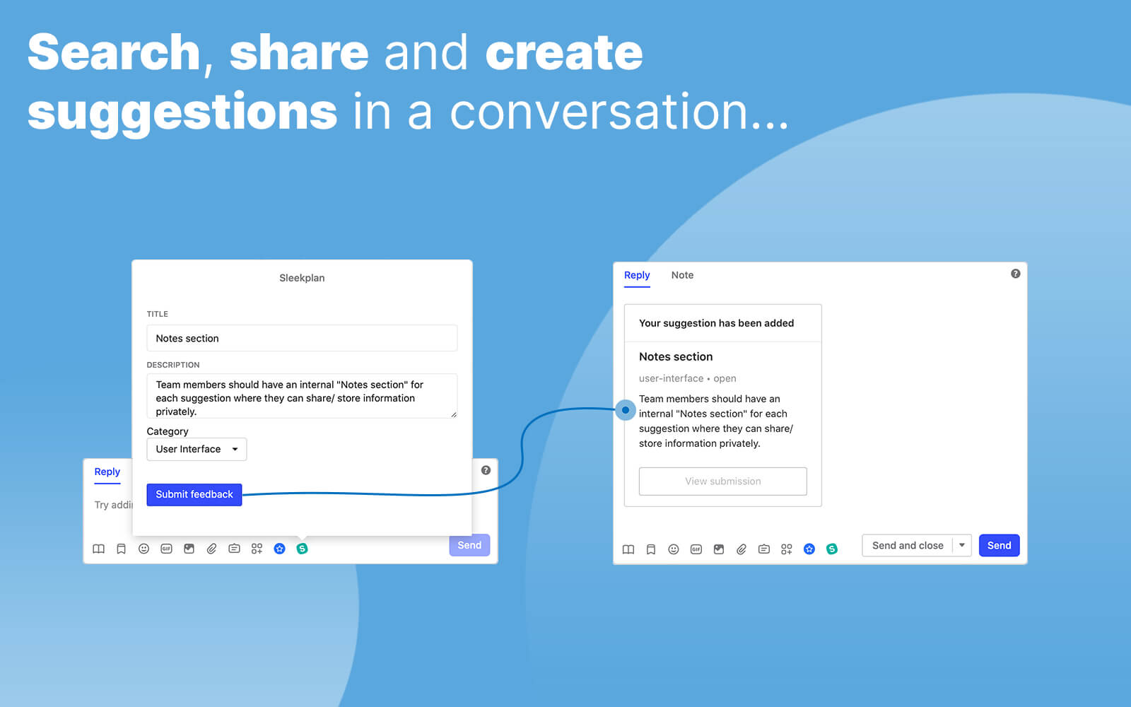 Search, share and create suggestions within your Intercom Messenger